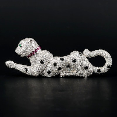 14K White Gold 12.05 CTW Diamond and Gemstone Panther Brooch