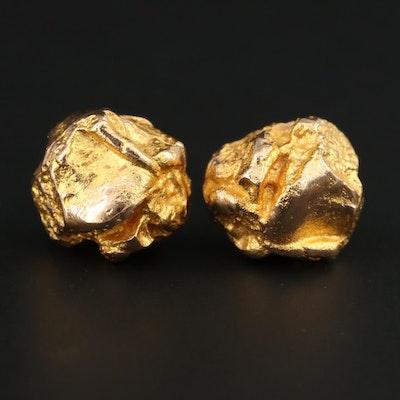 14K Yellow Gold Stud Nugget Motif Earrings