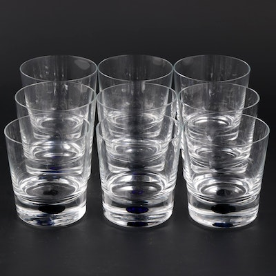 "Orrefors ""Intermezzo Blue"" Crystal Double Old Fashioned Glasses"