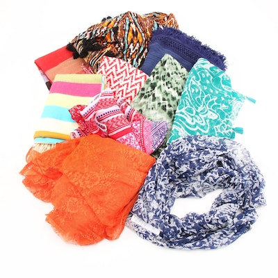 Eclectic Scarves and Wraps Including Striped Cashmere Scarf