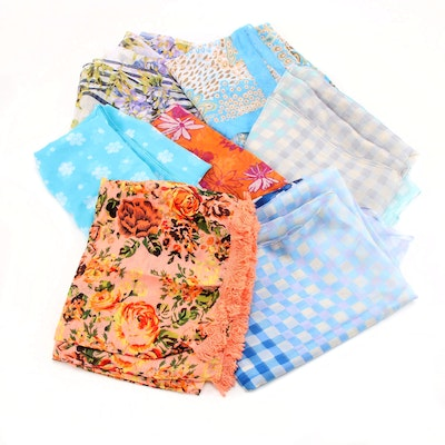 Floral and Gingham Print Scarves