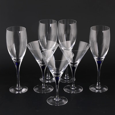 "Orrefors ""Intermezzo Blue"" Crystal Wine and Martini Glasses"