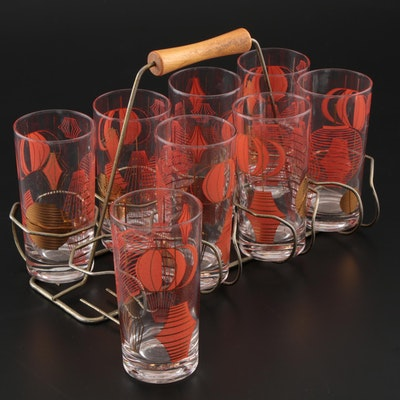 Mid Century Modern Printed Highball Glasses with Caddy