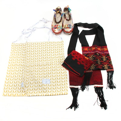 Xiruyi Mixed Media Floral Flats, Shoulder Bags and Other Accessories