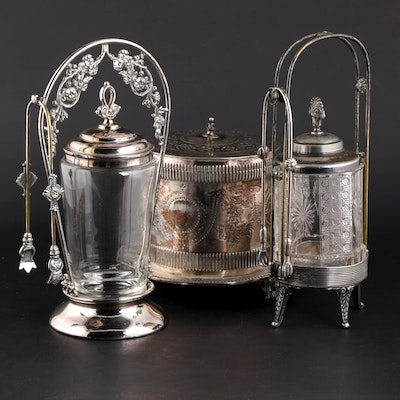 Rogers Smith & Co. Silver Plate Pickle Castors with Silver Plate Biscuit Jar