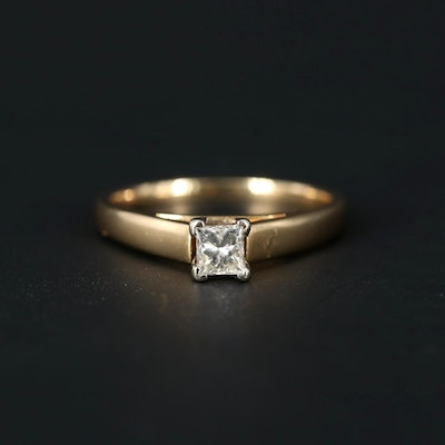 14K Yellow and White Gold 0.33 CT Diamond Solitaire Ring