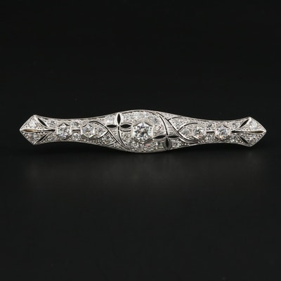 Vintage Platinum 3.17 CTW Diamond Bar Brooch