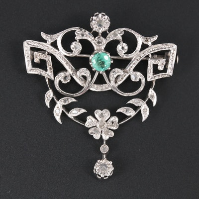 Vintage 14K White Gold Emerald and Diamond Brooch