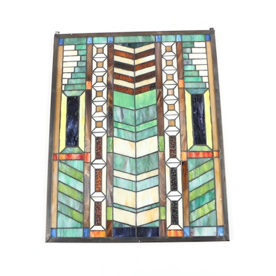 Paul Shalin Tiffany's, Inc. Arts and Crafts Style Stained Glass Panel