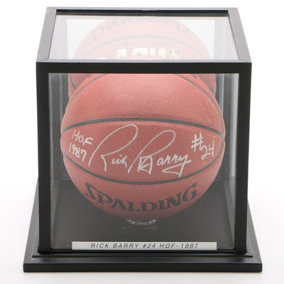 "Rick Barry ""HOF 87"" Signed Spalding NBA Basketball with Case, JSA COA"