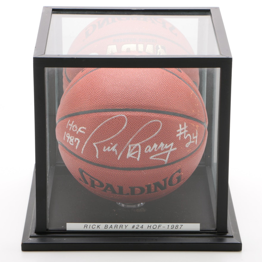 "Rick Barry ""HOF 87"" Signed Spalding NBA Basketball with Case, JSA COA"