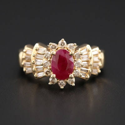 14K Yellow Gold 1.00 CT Ruby and Diamond Ring