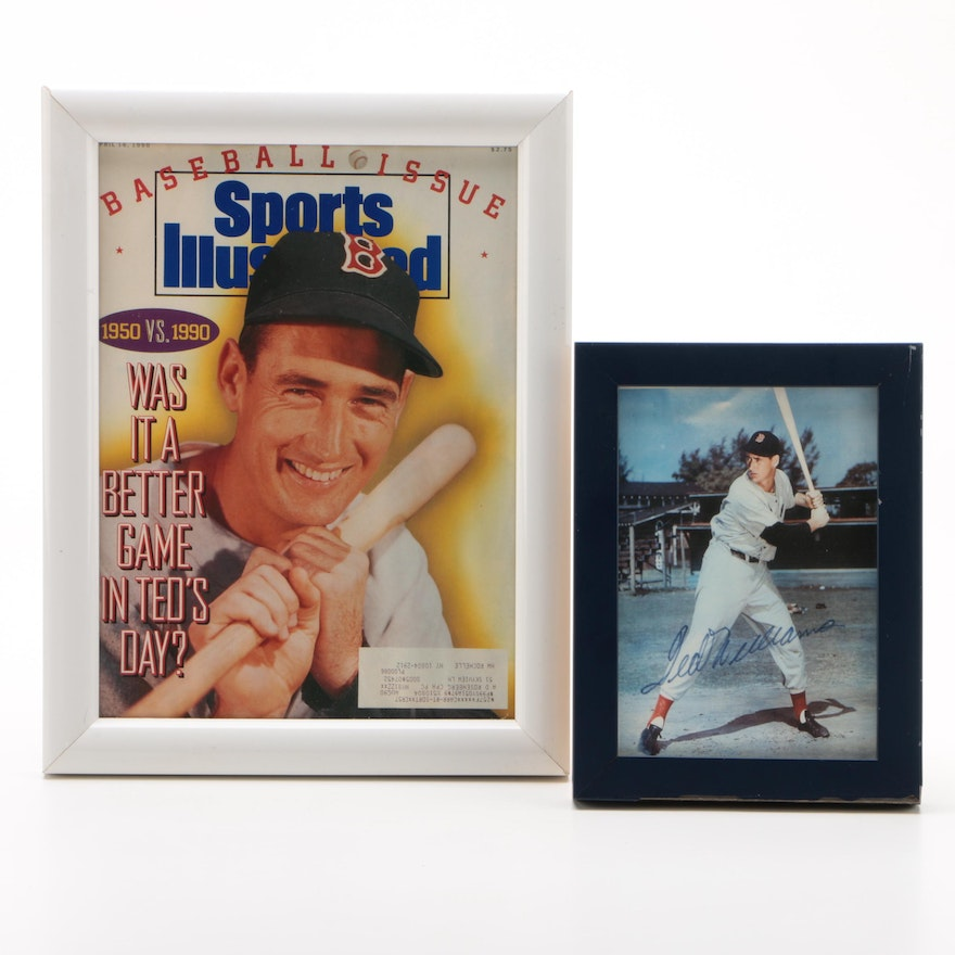Framed Ted Williams Prints, One Signed