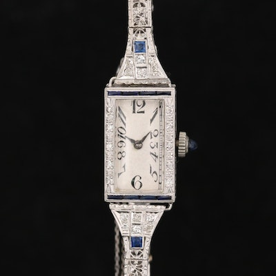18K Gold, Diamond and Sapphire Swiss Watch with 14K Diamond and Sapphire Band