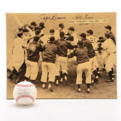 Bobby Thomson and Ralph Branca Signed Baseball and Home Run Picture