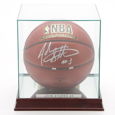 John Starks Signed NBA Basketball  COA