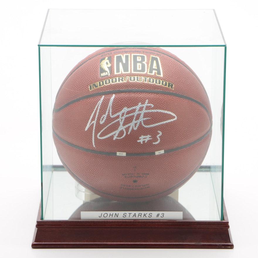John Starks Signed NBA Basketball  COA