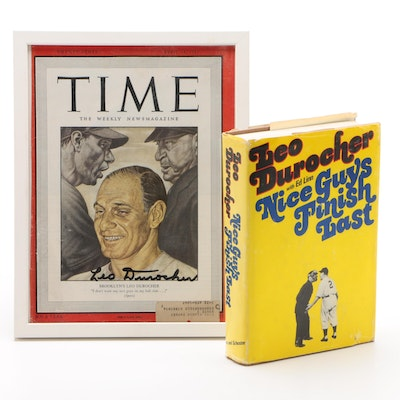 "Leo Durocher Signed ""Time"" Magazine Cover with ""Nice Guys Finish Last"" Book"