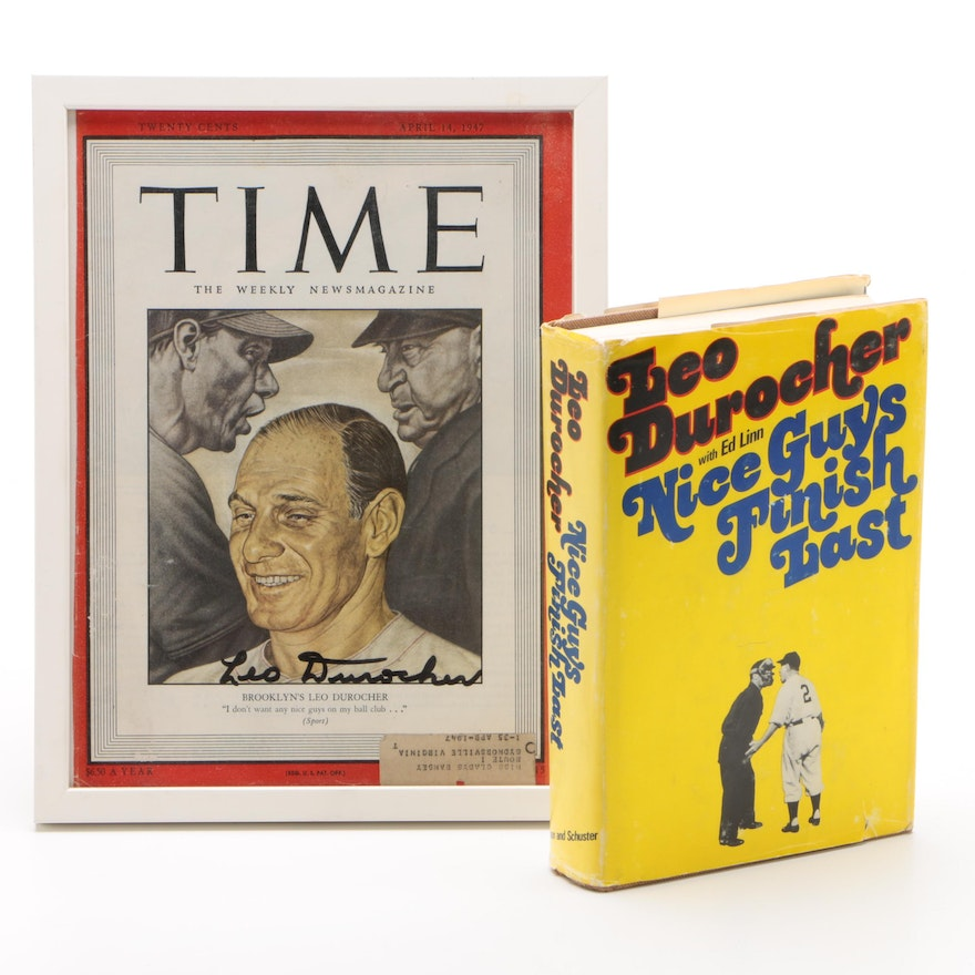 """Leo Durocher Signed """"Time"""" Magazine Cover with """"Nice Guys Finish Last"""" Book"""