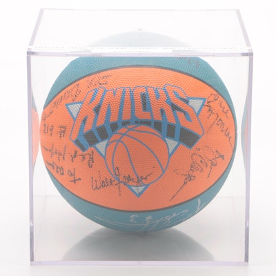 New York Knicks Signed Logo Basketball with Case
