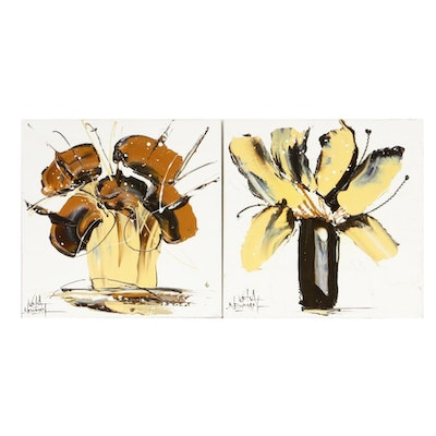 Velia Newman Abstract Floral Still Life Acrylic Paintings
