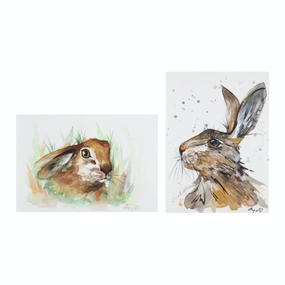 Anne Gorywine Watercolor Paintings of Rabbits