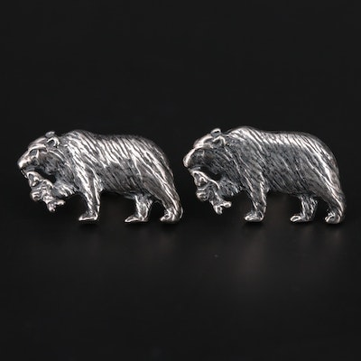Kabana Sterling Silver Earrings With Bear and Salmon Motif