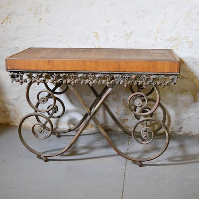 Phyllis Morris, French Provincial Style Oak and Patinated-Metal Pastry Table
