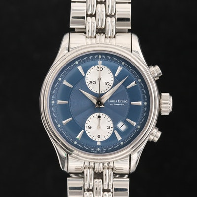Louis Erard Heritage Stainless Steel Automatic Chronograph Wristwatch