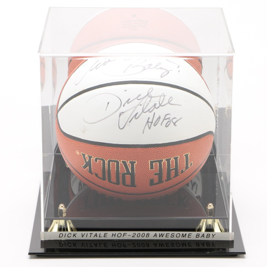 "Dick Vitale Signed Pictorial ""The Rock"" Basketball"