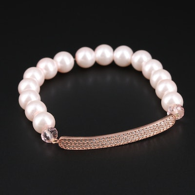 Sterling Silver Cultured Pearl and Cubic Zirconia Bangle Bracelet
