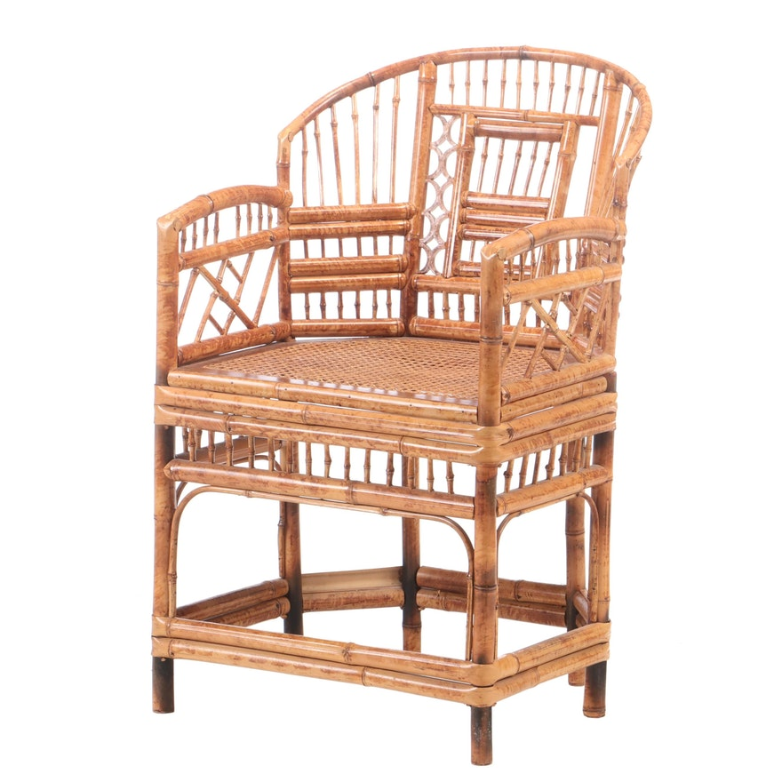 "Regency Style ""Brighton Pavilion"" Tortoiseshell-Stained Bamboo Armchair"