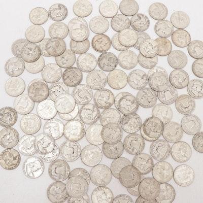 105 Franklin Silver Half Dollars, 1948 - 1963