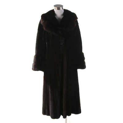 Flier Furs of Beverly Hills Dark Brown Mink Fur Coat, 1970s Vintage