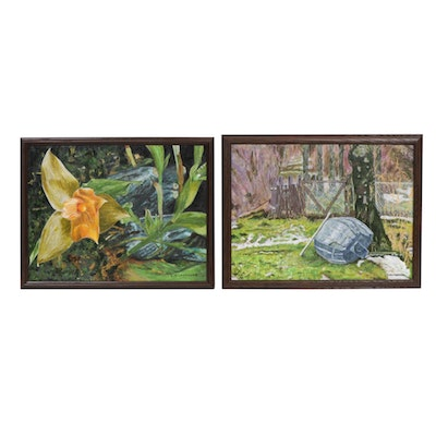 """Zofia Wilamowska Acrylic Paintings """"Approaching Spring"""" and """"Glowing Orchid"""""""
