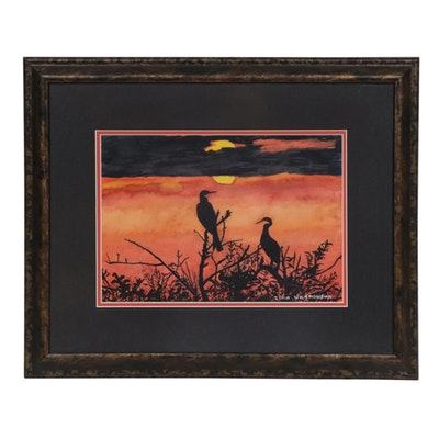 "Zofia Wilamowska Watercolor Painting ""Sunset in the Everglades"""