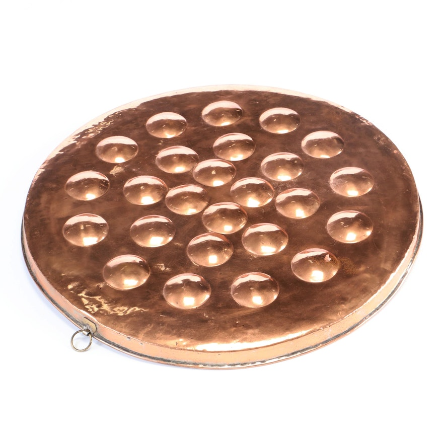 Large Tin-Lined Copper Egg Poaching Pan, 20th Century