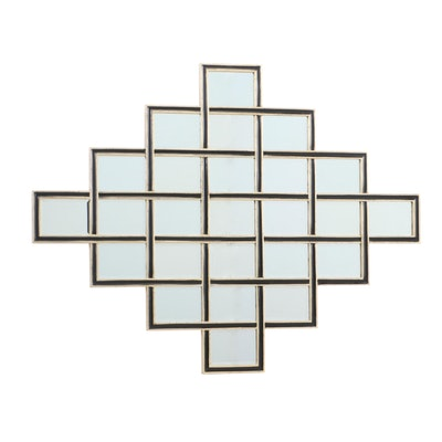 Decorative Painted Wooden Framed Wall Mirror, Contemporary