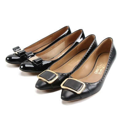 Salvatore Ferragamo Black Patent Leather Pumps and Studded Leather Kitten Heels