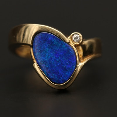 14K Yellow Gold Opal Doublet Ring with Diamond Accent