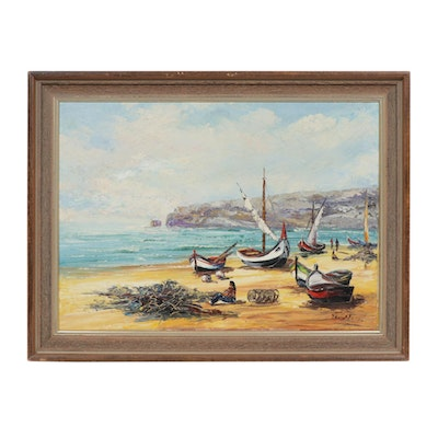 Oil Painting of Coastal Landscape with Boats