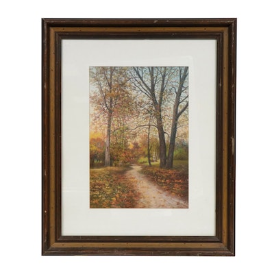 "John W. Clarke Pastel Drawing ""Autumn Colors,"" 1905"