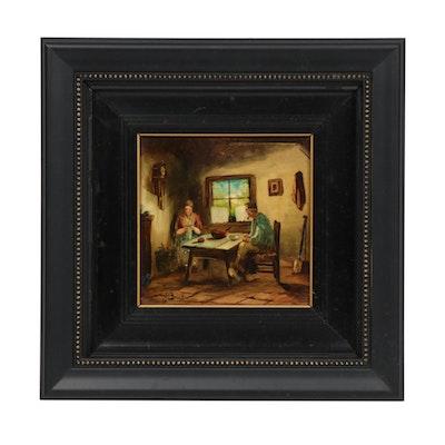 Jan Van Der Brink Genre Oil Painting on Porcelain