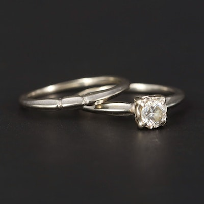 18K and 14K White Gold Diamond Ring and Band