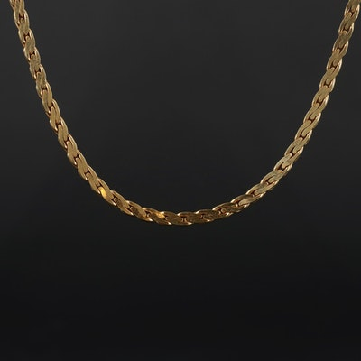 18K Yellow Gold C Link Chain Necklace