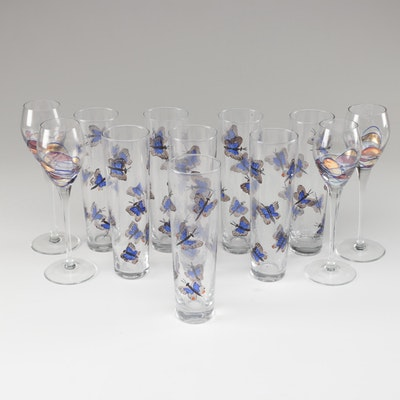 "Artland ""Helios"" Tall Cordials and Other Hand-Painted Cocktail Glasses"