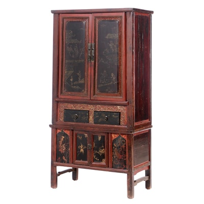 Antique Chinese Painted Pine Armoire Cabinet, Late 19th to Early 20th Century