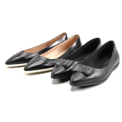 Tod's and Cole Haan Black Leather Flats