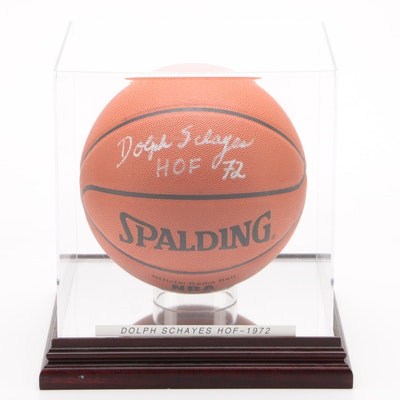 "Dolph Schayes ""HOF 72"" Signed Spalding Basketball in Case"