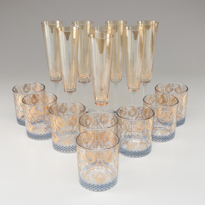 "Patina Vie ""Gold Ikat"" Cocktail Glasses with 18K Gold Details and Other Flutes"